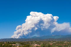 Fire, Sangre de Cristo Mtns. Santa Fe, New Mexico. Fire in the Sangre de Cristo Mountains, near Santa Fe, New Mexico, USA. Drought and wildfires in the western Royalty Free Stock Image