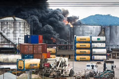 Fire in Santos, Brazil Stock Photos