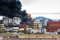 Fire in Santos, Brazil royalty free stock photography