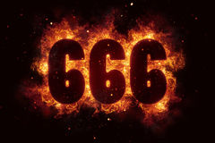 666 Fire Satanic sign gothic style evil esoteric. Occultism Royalty Free Stock Images