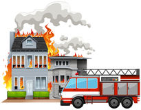 Fire scene with fire truck. Illustration Royalty Free Stock Images