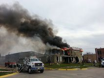 Fire scene with smoke royalty free stock photo