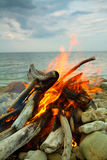 Fire at sea Stock Image