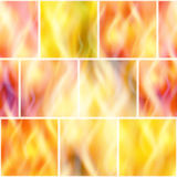 Fire, Seamless Background. Fire Seamless Background, Solid Wall of Blazing Red, Orange and Yellow Flames. Tile Pattern for Your Design, Split into Separate Parts Royalty Free Stock Images