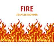 Fire seamless pattern, border, frame. Vector illustration of bright flame vector illustration