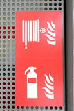 Fire security logo. With fire extinguisher stock images