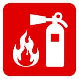 Fire safety. Red rectangle sign vector illustration