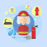 Fire Senior Woman Firefighter Worker Icon. Flat Vector Illustration Stock Image