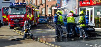Fire Service called to a car fire Stock Images