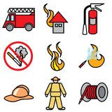 Fire and service icons. Vector set Royalty Free Stock Photography