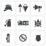 Fire Service icons set Stock Photos
