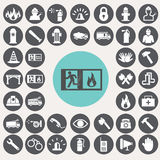 Fire service icons set. Royalty Free Stock Photography