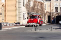 Fire service vehicle near the firehouse. St. Petersburg, Russia - May 01, 2019: Fire service vehicle on the territory of the fire station Inzhenernaya Street, St stock photos