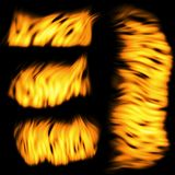 Fire set. Set of a flame isolated on a black background Royalty Free Illustration