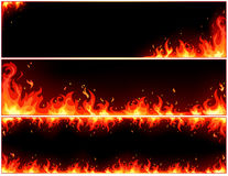 Fire set. Vector set of fire banners Stock Photo