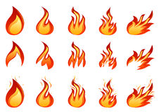 Fire set. Vector of fire shapes set Royalty Free Stock Photo