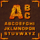 Fire set font alphabet text on a red background Stock Photo