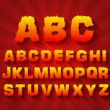 Fire set font alphabet text on a red background. Concept. Vector template for your design Stock Image