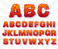 Fire set font alphabet text  Royalty Free Stock Images