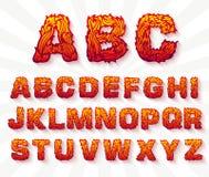 Fire set font alphabet text  Royalty Free Stock Images