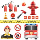 Fire set. Set of the fire objects isolated on the white background Royalty Free Stock Photography