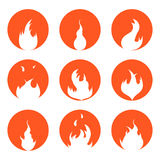 Fire Set Silhouette in Red Circle. Vector. Bright Fire Flames Set Silhouette in Red Circle Background Light Effect for Design. Vector illustration Royalty Free Stock Photos