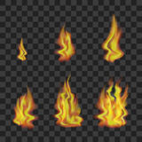 Fire Set on Transparent Background. Vector. Realistic Bright Fire Flames Set on Transparent Background Light Effect for Design from Small to Big. Vector Stock Photos