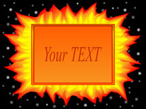 Fire shablon. The template for the text in the form of fire against the night sky royalty free illustration