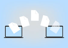 File sharing between Laptop via cloud computing technology concept, vector illustration in flat design. File sharing between Laptop via cloud computing Royalty Free Stock Image