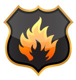 Fire shield. Illustration design over a white background Royalty Free Stock Photography