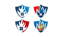 Fire Shield Home Set. Vector Royalty Free Stock Photo