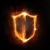 Fire shield icon Royalty Free Stock Photography