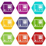 Fire shield icon set color hexahedron. Fire shield icon set many color hexahedron isolated on white vector illustration Royalty Free Stock Images