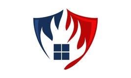 Fire Shield Logo Design Template. Vector Stock Photos