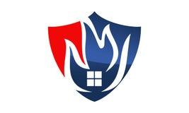 Fire Shield Logo Design Template. Vector Stock Photo