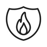 Fire Shield. Fire, shield, safety icon vector image. Can also be used for firefighting. Suitable for web apps, mobile apps and print media Royalty Free Stock Photo