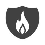 Fire Shield. Fire, shield, safety icon vector image. Can also be used for firefighting. Suitable for web apps, mobile apps and print media Stock Photo