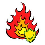 Fire and shield with tick icon cartoon. Fire and shield with tick icon in cartoon style isolated vector illustration Royalty Free Stock Image