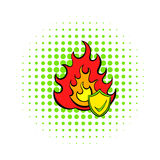 Fire and shield with tick icon, comics style. Fire and shield with tick icon in comics style on a white background Royalty Free Stock Photos