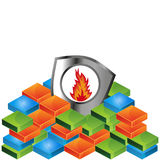 Fire shield vector illustration Royalty Free Stock Photo