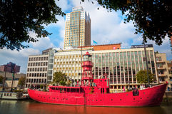 Fire ship in Rotterdam Royalty Free Stock Photo