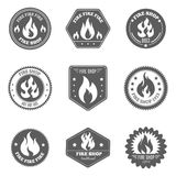 Fire shop emblems icons set black Royalty Free Stock Photography