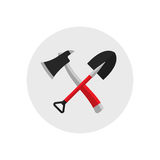 Fire shovel and ax. Single silhouette fire equipment icon. Vector illustration. Flat style. Fire shovel and ax. Single silhouette fire equipment icon. Vector Royalty Free Stock Image