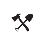 Fire shovel and ax. Single silhouette fire equipment icon. Vector illustration. Flat style. Royalty Free Stock Image