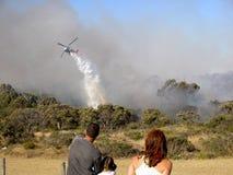 Fire Show. A bushfire located in North Beach, Perth, Western Australia.  December 31, 2005 Stock Image