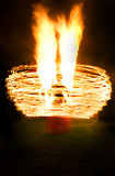 Fire show. Fire man show in night Stock Photography