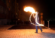Fire-Show. Fire show on the street Royalty Free Stock Photography