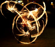 Fire show. Amazing fire performance in the night Stock Images