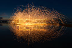 Fire show amazing at night Royalty Free Stock Images