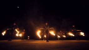 Fire show amazing at night. Dances with fire in the night. stock video